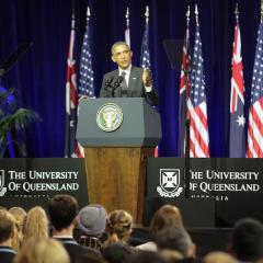 An image of US President Barack Obama taking time out from the G20 Leaders' Summit in Brisbane to speak to an audience at UQ St Lucia, November 2014