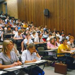 Students in a lecture in 1982.