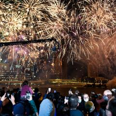 An image of fireworks during celebrations at South Bank after Brisbane was announced as the hosts of the 2032 Olympic Games.