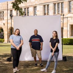 An image of UQ students Olivia, Cameron and Appolonia