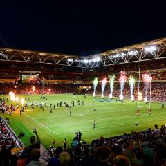 An image of fireworks before an NRL match at Suncorp Stadium in Brisbane.