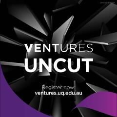 Text that reads 'Ventures Uncut' on a black background