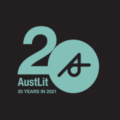 Banner with the numeral 20 and the words 'AusLit 20 years in 2021'