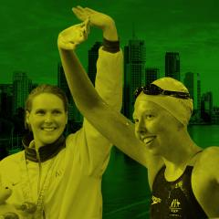 An image of Olympic hero Susie O'Neill and Paralympic champion Lakeisha Patterson overlaid on an image of Brisbane city