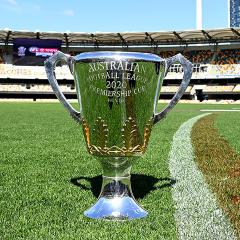 An image of the AFL premiership trophy at the Gabba