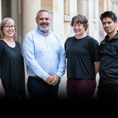An image of ATLAS UQ Poche Centre Researchers (L-R): Dr Clare Bradley, Professor James Ward, Dr Kate Lewis and Mr Alan Ho.