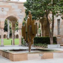 An image of the the Hancock Memorial Fountain.