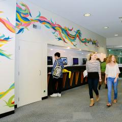 An image of a mural in the Central Library foyer, UQ St Lucia.