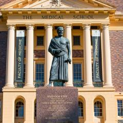 An image of a sculpture of Hippocrates at UQ's Herston campus.
