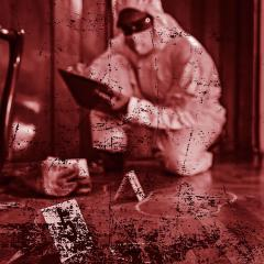 An image of a crime scene detective examining evidence.