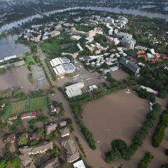 An aeriel view of the UQ St Lucia campus during the 2011 floods.