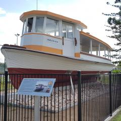 The Pamela-Sue ferry (now Hamilton) now proudly sits in a Recreation Precinct on the St Lucia campus.